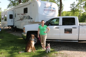 Sherry and the pups at our stop in Onawa.